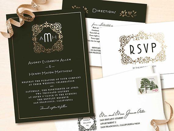 ブラックとゴールドでラグジュアリーに。結婚式のエレガントで高級感ある招待状のまとめ一覧です♡