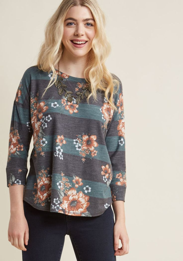 Afternoon Espresso Knit Top in Floral Stripe