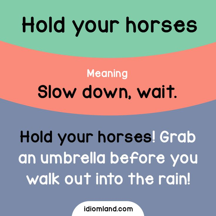 Idiom of the day: Hold your horses. Meaning: Slow down, wait. Example: Hold your horses! Grab an umbrella before you walk out into the rain!
