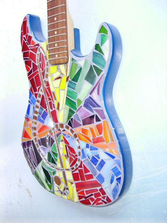 TIE DYE MOSAIC Guitar by racman on Etsy, $300.00