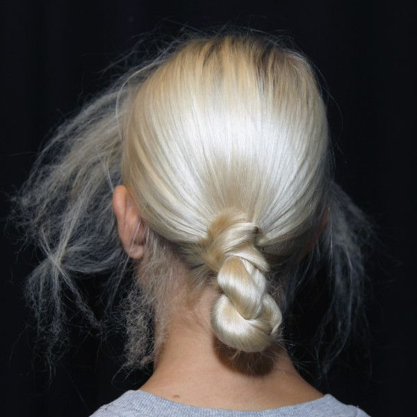 - Instead of letting your low ponytail flow freely, this style keeps it looking neat and sleek all day long. Pull hair into a low ponytail and secure with an elastic. Twist from the base to the ends before folding in half to create a faux braid. Pin ends to the base to secure.Photo: Bok-Hee for SheaMoisture
