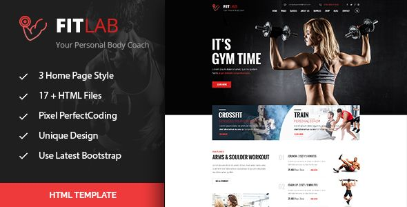 FitLab Sports, Health, Gym  Fitness HTML Template  FitLab is a