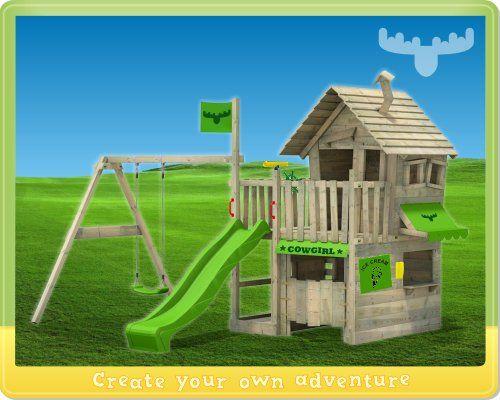 Parco giochi Fatmoose CountryCow Maxi XXL con altalene, casetta per albero in legno con altalena et scivolo