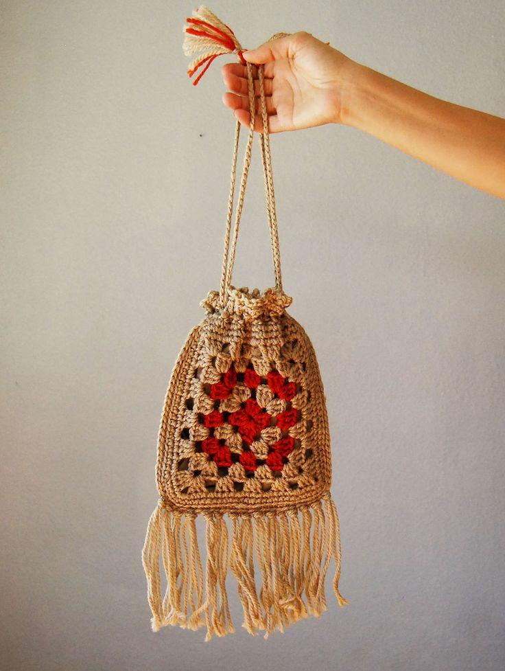 vintage GRANNY SQUARE bag / 1960s crochet FRINGE drawstring handbag. $14.00, via Etsy.