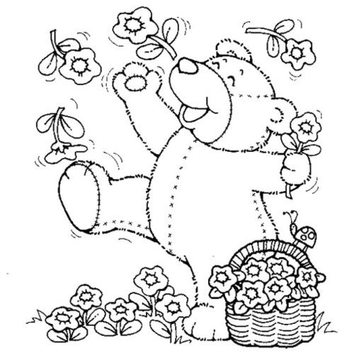 coloring pages teddy bear holding roses | Printable Spring Teddy Bear With Flowers Coloring Pages ...