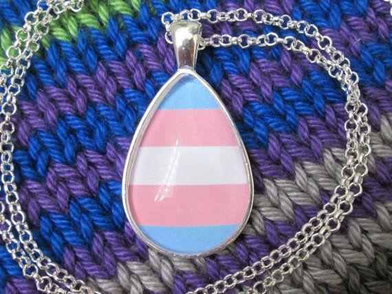 Transgender Pride - Trans Pride Flag Pendant Necklace