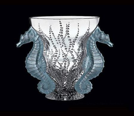 Lalique sea horse vase