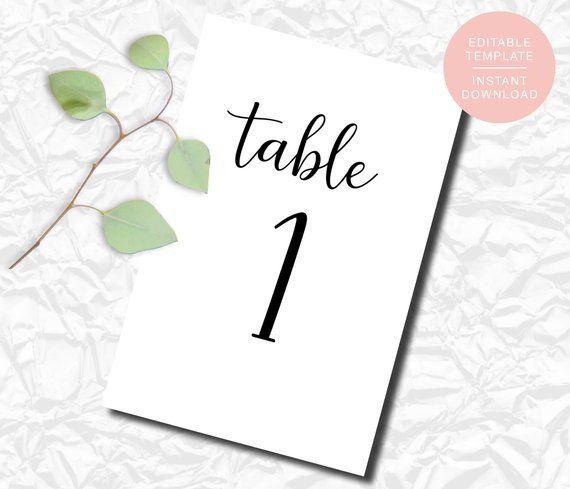 Editable Wedding Table Numbers, Printable Table Numbers, Wedding