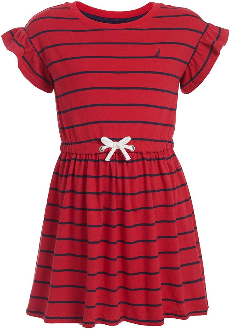 Nautica Girls Short Sleeve Stripe Fashion Dress
