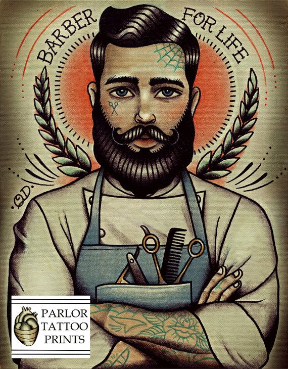 Barber For Life Tattoo Art Print by ParlorTattooPrints on Etsy, $24.00