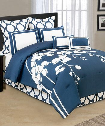 Cobalt Orchidea Reversible Overfilled Comforter Set