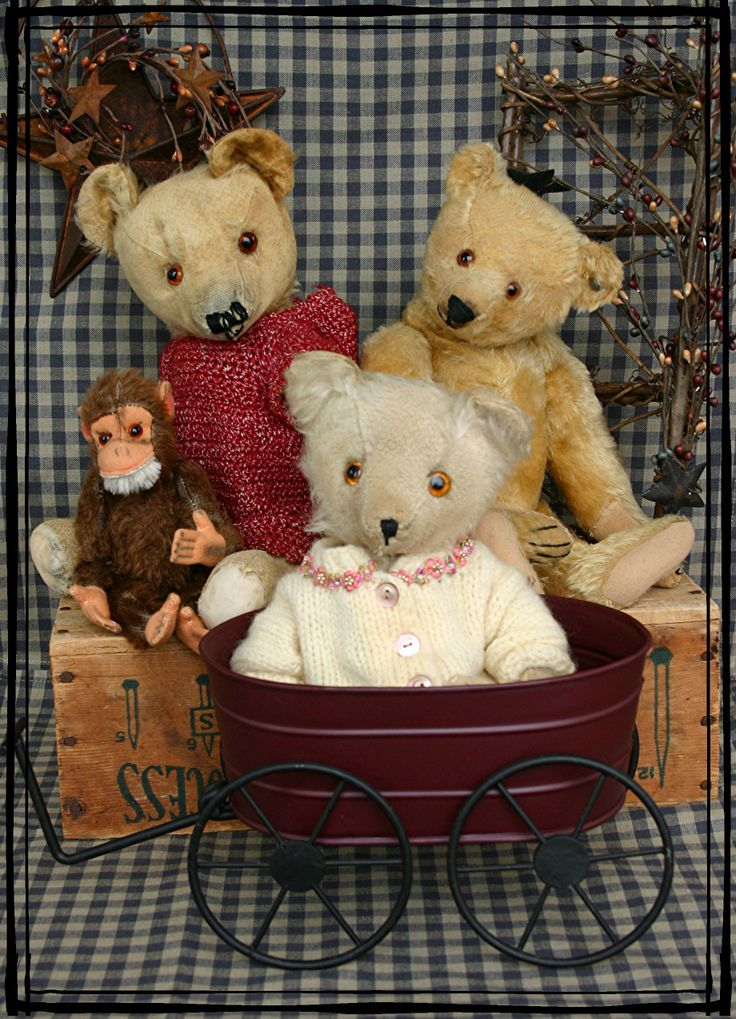some of my antique bears,  Land Of Nod  Studios
