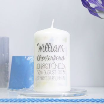 Personalised Watercolour Christening Candle For Boys