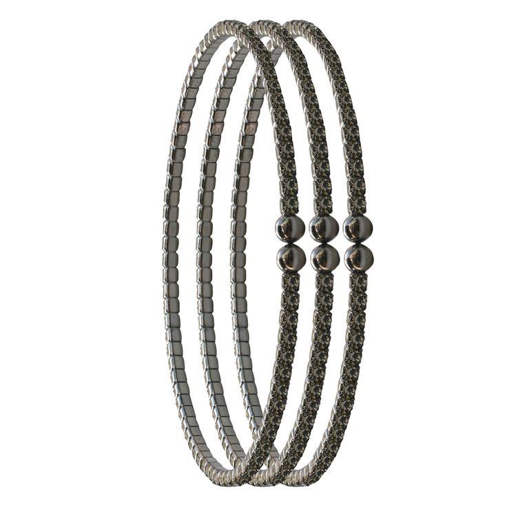 2mm Czech Crystal Bracelets Set of Three - Black Diamond