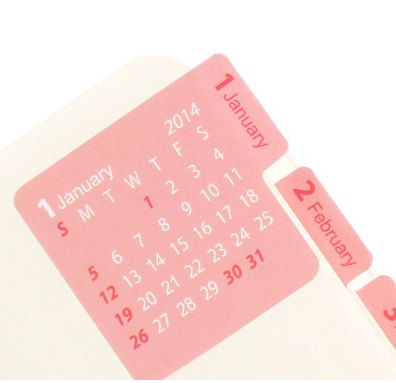 2014 Calendar sticker and many other cute calendar and planner stickers.  These are nice because of the month on the tab and the calendar.  Also in black.