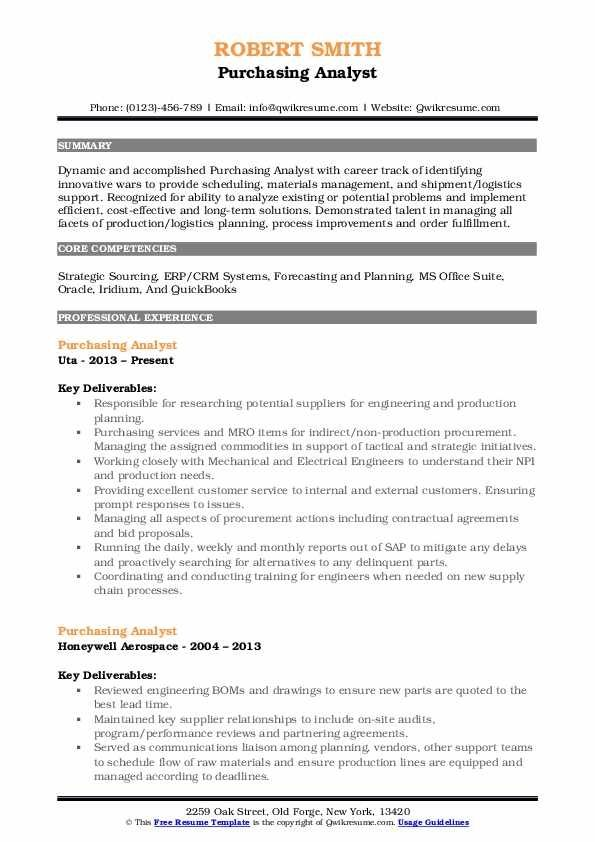 Purchasing Analyst Resume Samples Qwikresume Resume Guru Jenis