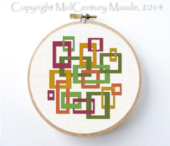 Mod Sqrares Cross Stitch Pattern Instant por MidCenturyMaude