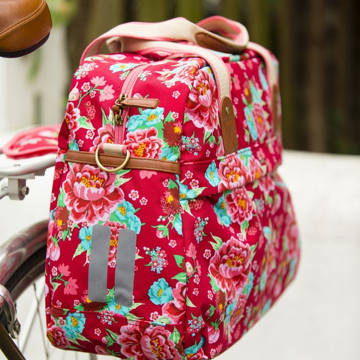 Basil Bloom Carry All Bike Pannier Bag Red | Cyclechic | Cyclechic