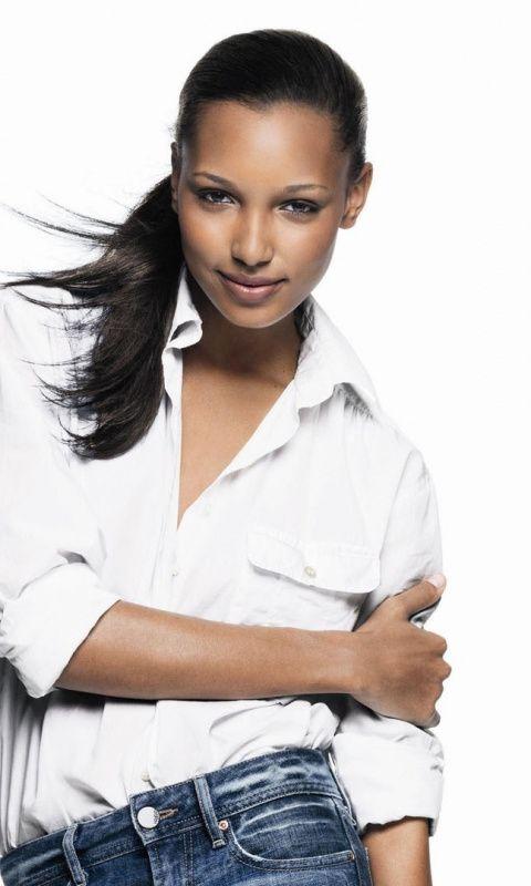 Jasmine Tookes Smile Beautiful Model 480x800 Wallpaper