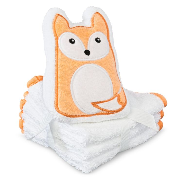Perfect for washing your baby in the bath or cleaning her up after feeding, you can count on the Circo Newborn 3 Pack Washcloth Set. Woven from 100% cotton, these washcloths are durable enough for multiple uses without fraying and soft enough to give your cherished child a delicate and luxuriously comfortable touch. Plus, the soft and sturdy fox Scrubbie makes bath time bubble over with cleanliness and smiles!