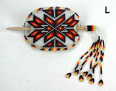 Authentic Lakota Sioux Hand Beaded Stick Barrette