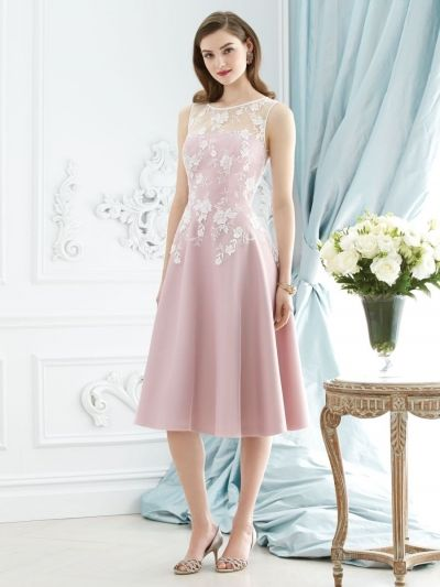 sleeveless bateau neckline lace appliques knee length tulle overlay satin bridesmaid dress