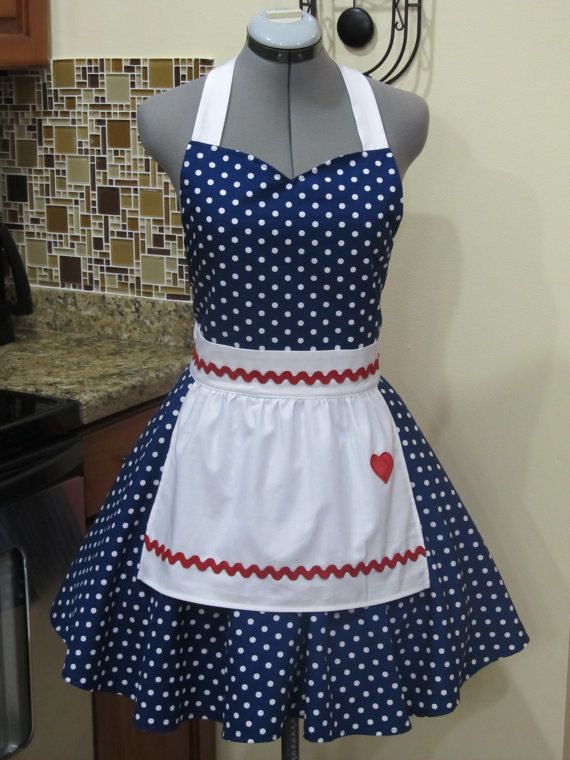 I Love Lucy Apron.. Vintage Inspired Sweetheart Style with a handmade Heart..Navy Blue Fabric with white polka dots-Full of Twirl..