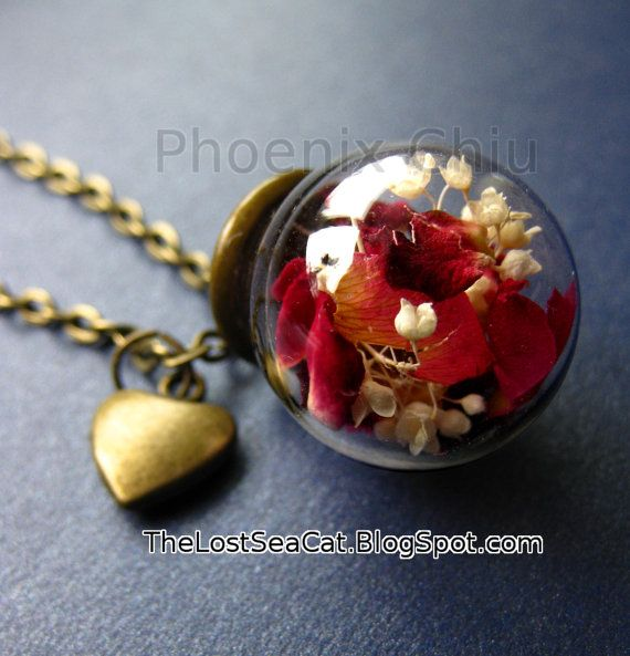 Vera e propria rosa collana terrario collana fiore di phoenixchiu