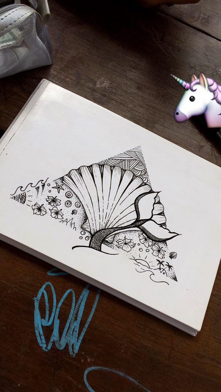 #sea #tattoo #desenho #draw #concha #sereia #wave #arte #art #madebyme