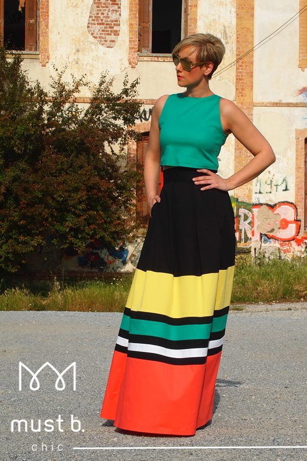 Fashionable outfit, long dress with green top from Spring Summer 2015 collection.
