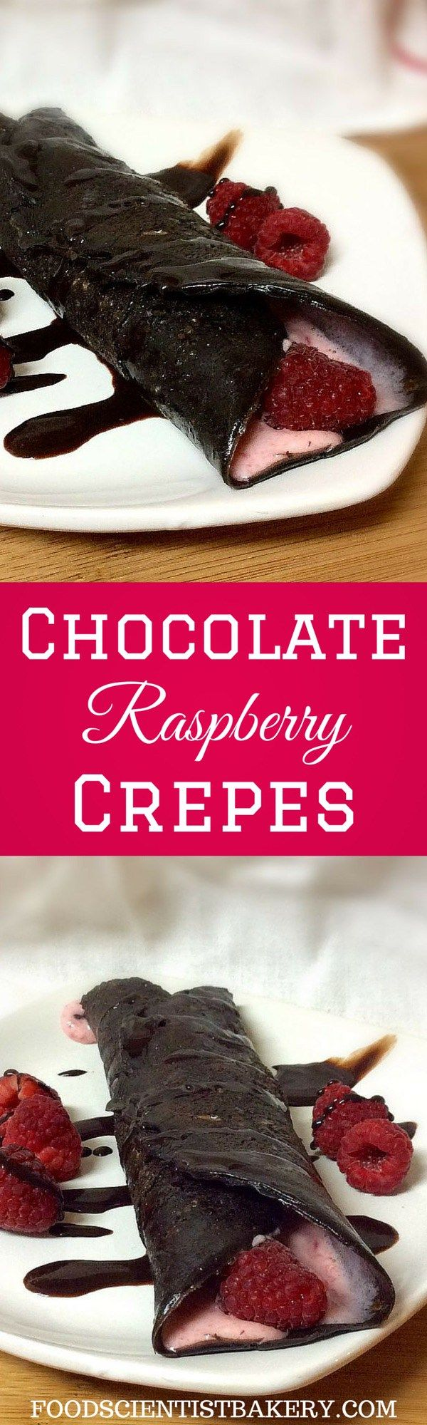 Chocolate Raspberry Crepes- thin chocolate crepes filled with fresh raspberry filling. An easy, filling brunch or dessert!