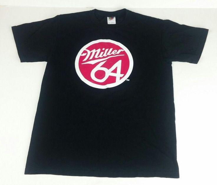 Miller 64 Men's Medium T-Shirt Black Short Sleeve Beer Big Red Circle Logo