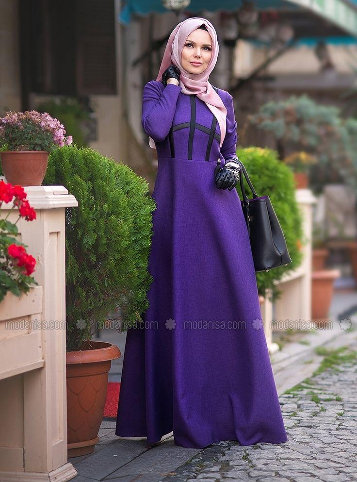 City Style Violet Dress - Purple - Muslima Wear