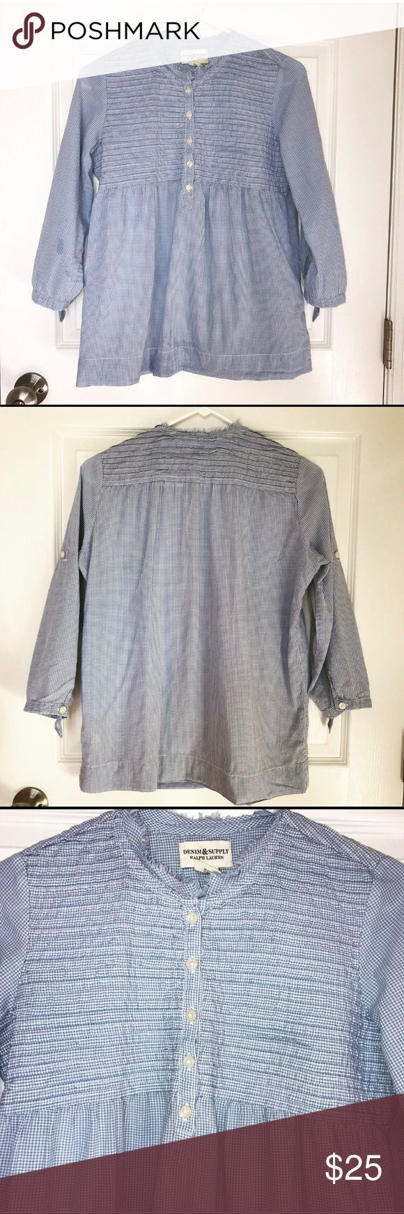 """Demin & Supply Ralph Lauren Boho Peasant Gingham Excellent used condition. Light weight. 3/4 Sleeves. 100% cotton.  Approximate measurements with garment lying flat:  Shoulder - 13.5"""",  chest (armpit to armpit) - 18.25"""", waist - 19.5"""", length - 24.25"""", Sleeve length shoulder to cuff - 18"""", sleeve length pit to cuff -  12.5"""" Denim & Supply Ralph Lauren Tops Blouses"""