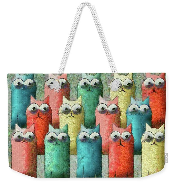 Cat Weekender Tote Bag featuring the painting Observing Cats by Grigorios Moraitis