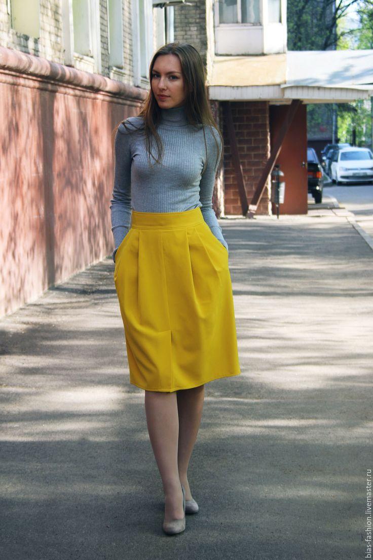 Купить Юбка-карандаш - желтый, юбка-карандаш, желтая юбка, юбка с крманами