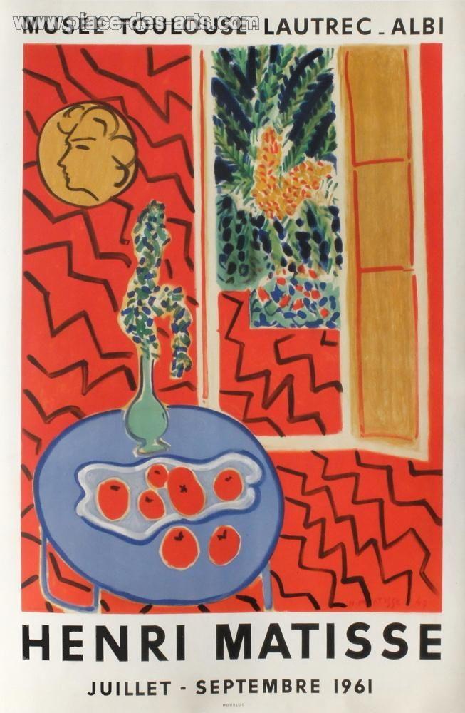 Expo 61 - Musée Toulouse Lautrec Albi, Affiche, du peintre, Henri, MATISSE, Signée dans la planche