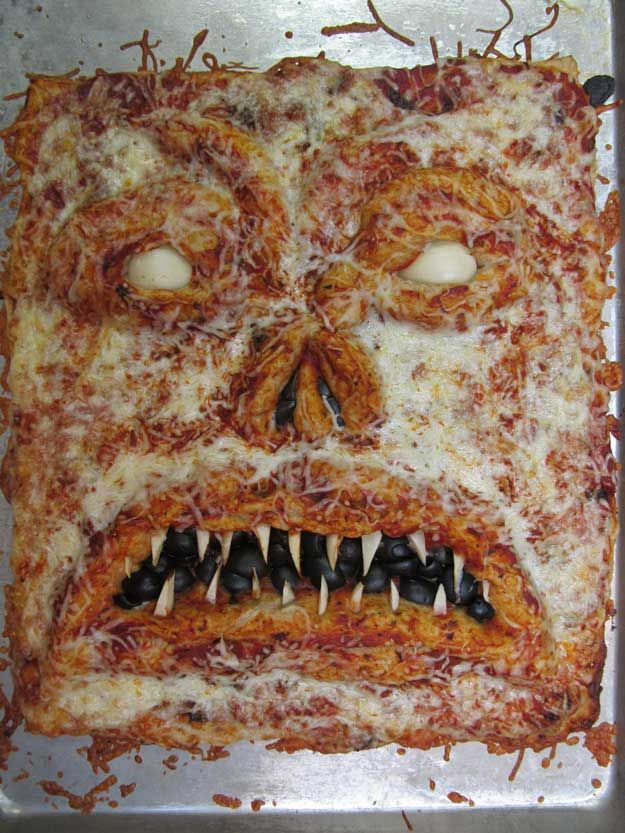 Necronomicon Pizza | 13 Creepy Halloween Appetizers And Drink Recipes by Homemade Recipes at http://homemaderecipes.com/uncategorized/halloween-appetizers/