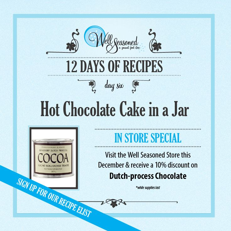 Day 6 of our #ws12days of Recipes went out today: Hot Chocolate Cake in a Jar ft. Dutch-process cocoa  Dutch process chocolate is a must-have pantry item for the baker who loves chocolate!! Pick up some Silly Cow Hot Chocolate while you're in store for a great chocoholic's gift set!  Missed the recipe + feature gift idea? Sign up via any of our 12 days of recipes pages! #cookinggifts #stockingstuffers #gourmetgifts #baking #christmasbaking #chocolate #nomnomnom