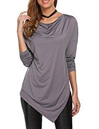 New Unibelle Womens Long Sleeve Cowl Neck Casual Blouse With Asymmetrical Hem Design online. Find the perfect Tiger Hill Tops-Tees from top store. Sku FROQ16099PJBN75072