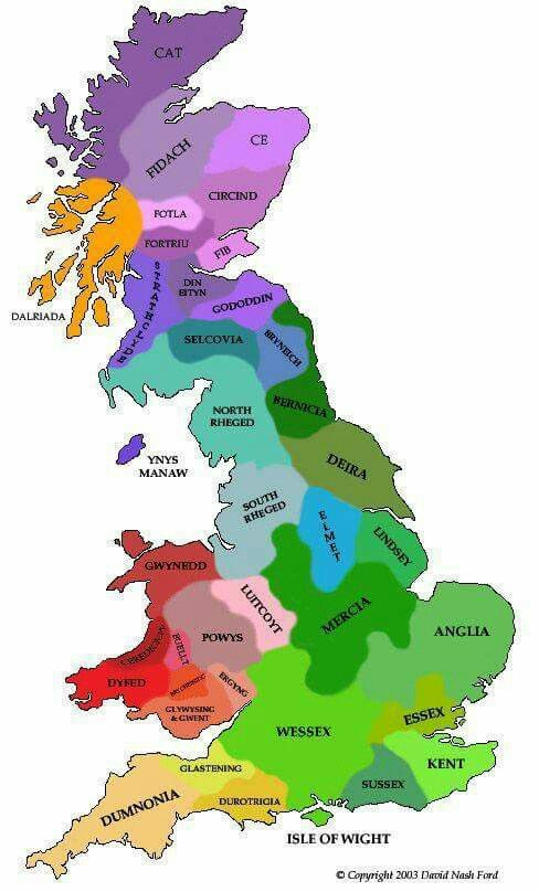 The 'battle-field' of England in the 7th century. These kingdoms fought each other until they were unified...  -About History-