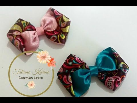 Passo a passo: Laço dupla face enrolado by  Tatiana Karina DIY/ Tutorial / PAP/ Ribbon Bow - YouTube