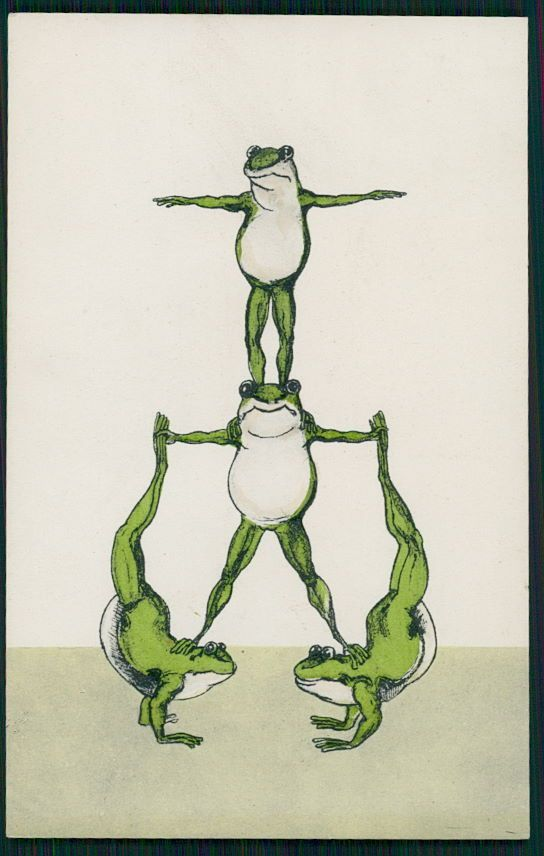 Frog fantasy Gym gymnastic mountain circus acrobats original old 1910s postcard