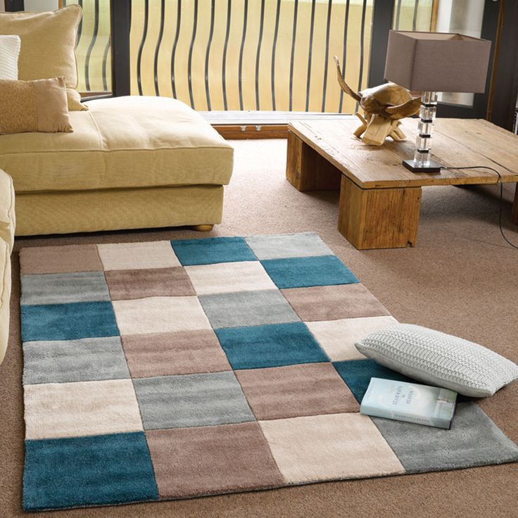 Inspire Squared Rugs In Teal Duck Egg