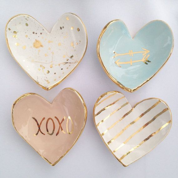 heart shaped handmade ceramic ring dish 22k gold luster overglaze with either xoxo arrows stripes splatter or dots