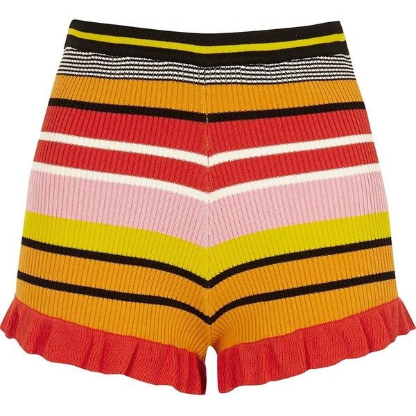 River Island Pink stripe knit frill hem shorts (82 CAD) ❤ liked on Polyvore featuring shorts, casual shorts, pink, women, stripe shorts, tall shorts, ruffle hem shorts, river island and striped shorts