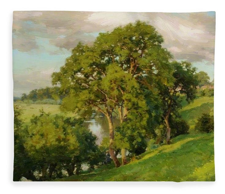 Ash Fleece Blanket featuring the painting Ash Trees At Cropthorne Worcestershire by Parsons Alfred