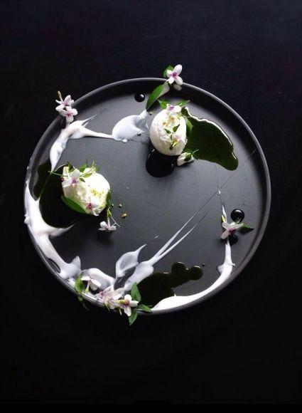 ice cream decorated with flowers   Food. Art + Style. Photography: Food on black by Yann Bernard Lejard  