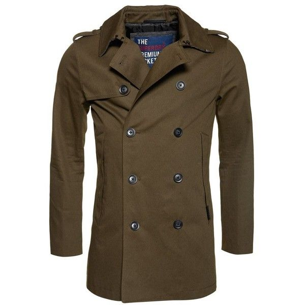 Superdry Remastered Rogue Trench Coat (390 BRL) ❤ liked on Polyvore featuring men's fashion, men's clothing, men's outerwear, men's coats, sale men coats and jackets, mens waterproof trench coat, mens trenchcoat, mens overcoat, mens hooded coat and mens waterproof overcoat