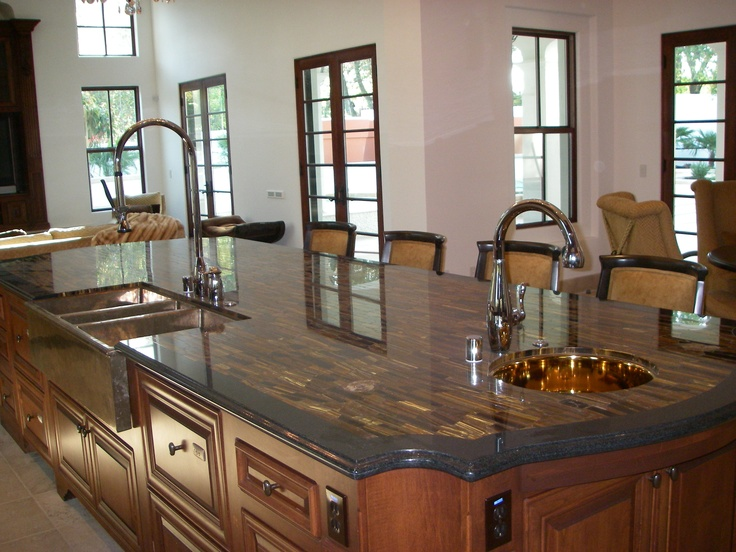 This Is A Tiger Eye Granite Countertop With Absolute Black